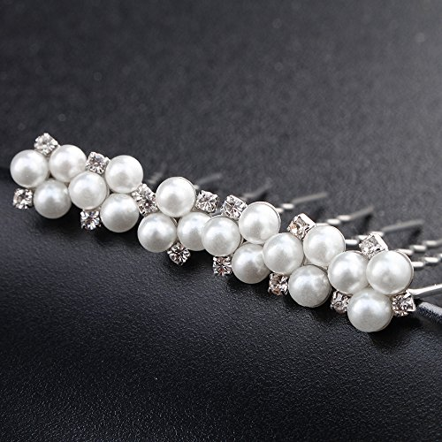 Kercisbeauty Handmade Wedding Bridal Bridesmaids Hair Pins Simple Pearl and Rhinestone Vintage Boho Headpiece for Wedding,Party,Long Curly Bun Hair Accessories (set of 6) (Silver)
