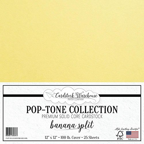 BANANA SPLIT YELLOW Cardstock Paper - 12 x 12 inch 100 lb. Heavyweight Cover - 25 Sheets from Cardstock - Pastels Stock Cover