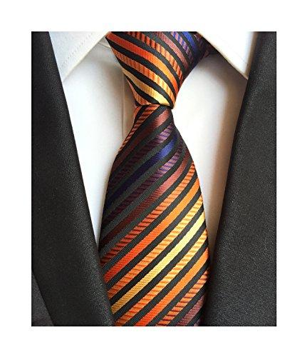 Mens Bronze Yellow Silk Tie Fine Striped Colorful Jacquard Woven Working (Orange Silk Narrow Ties)