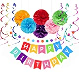 Sopeace Happy Birthday Decorations Banner with Multicolor Tissue Paper Pom Poms Flower Plastic Swirl Polka Dot Paper Garland Decorations