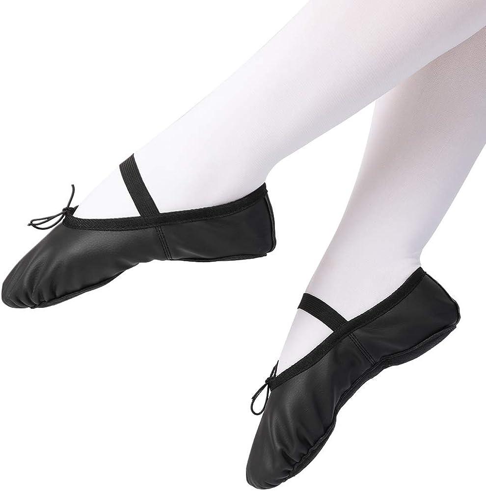 TXJ Sports Girls Leather Ballet Slipper Full Sole Ballet Dance Practice Shoes for Toddler//Little Kid//Big Kid