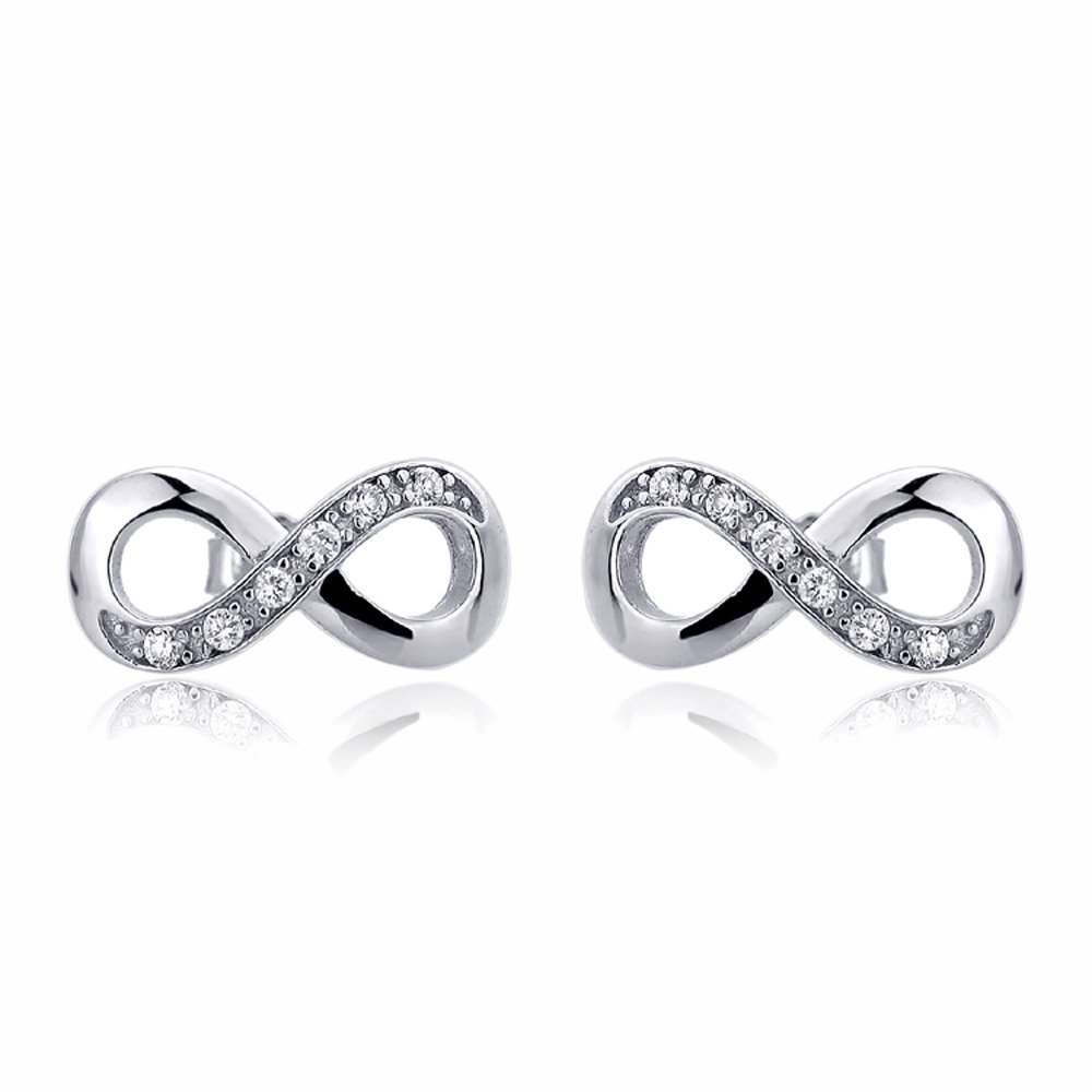 ceb2ad202 Amazon.com: Rhodium Plated Sterling Silver Earrings CZ Infinity Stud  Earrings: Jewelry