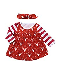 Baby Girl Christmas Clothes Stripe Long Sleeve Deer Princess Dress with Headband