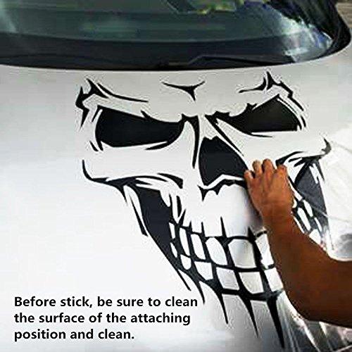OKOKMALL US--Black Skull Hood Decal vinyl large Graphic sticker Car Truck tailgate window 18