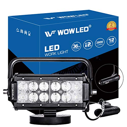 WOWLED 36W Floodlight LED Work Light Magnetic Base Mount Bracket Portable LED Light Bar Flood Beam Lamp for Car SUV Truck Boat Bar Jeep Off-road Driving Lamp Fog Spot Lights