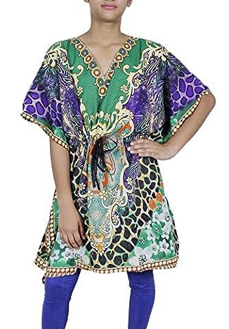Women Tunic Bohemian Floral Kaftan Short Indian Caftan Plus Size Beach Wear,Large,Multicoloured
