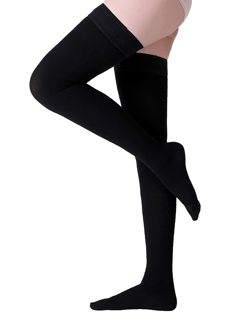 Thigh High Compression Stockings, Closed Toe, Firm Support 20-30 mmHg Gradient Compression Socks with Silicone Band, Opaque, Best for Treatment Swelling, Varicose Veins, Edema, Pregnancy, Black S by MGANG (Image #1)