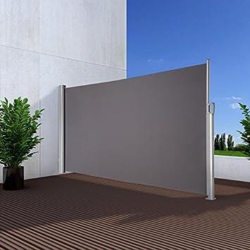 noor seitenmarkise exklusiv 120x350 cm anthrazit sichtschutz terrasse balkon sonnenschutz windschutz