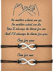 Rokiemen Pinky Promise Distance Bracelets Couples Bracelet Matching for Boyfriend Girlfriend Best Friend Adjus