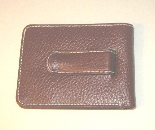 Men's Genuine Leather Money Clip Wallet & Credit Card Holder - Saddle Brown (Clip Avon)