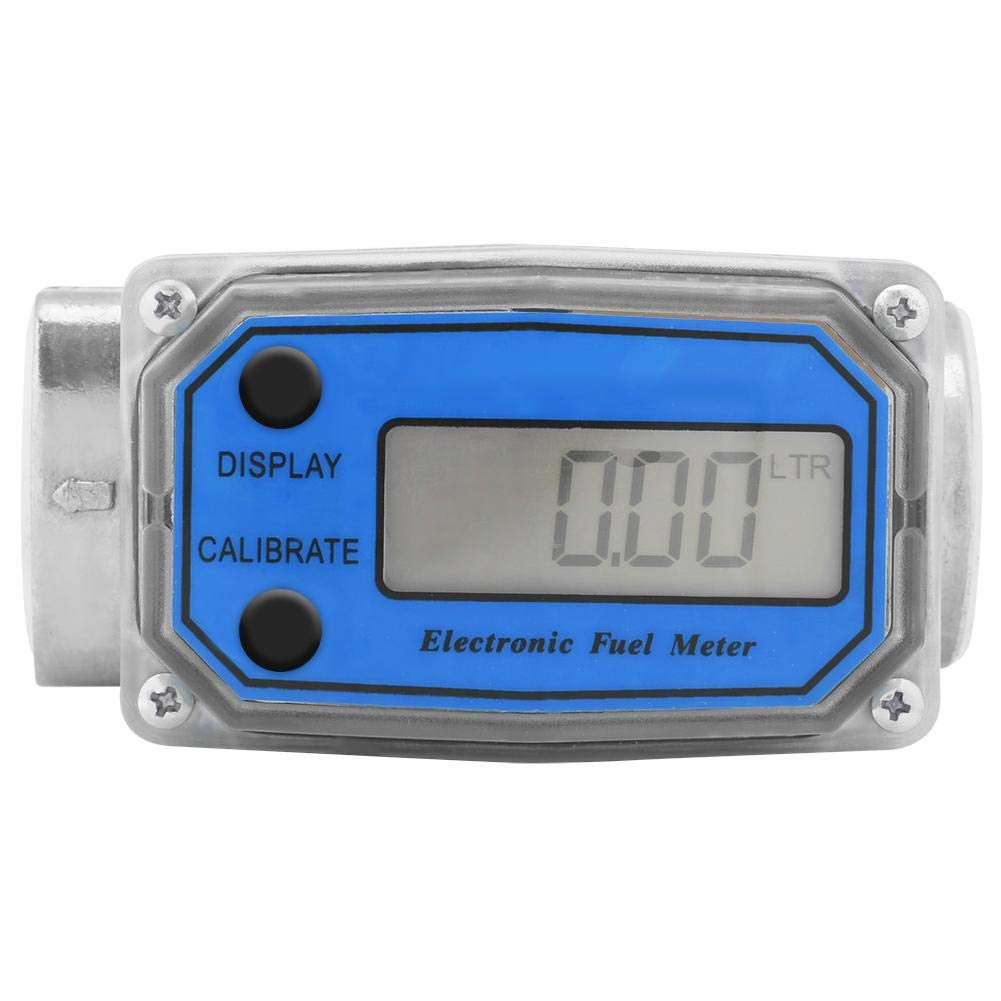 1″ Digital Turbine Flow Meter,Gas Oil Fuel Flowmeter,Pump Flow Meter Diesel Fuel Diesel Kerosene Line Pipe Counter for Chemicals Water etc(Blue)