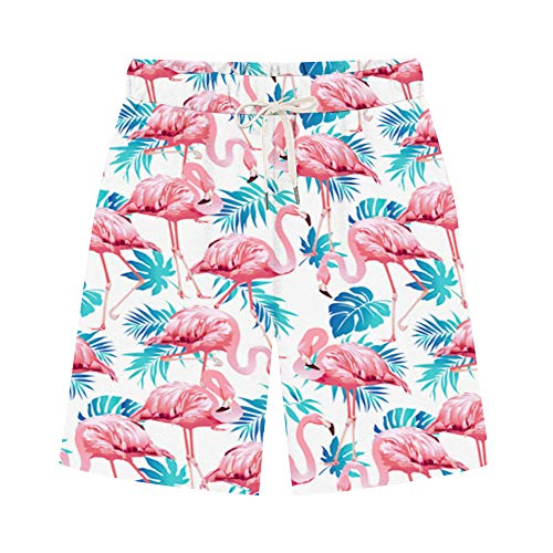 Women's Comfy French Terry Elastic Wasit Knit Jersey Bermuda Shorts with Drawstring Flamingo1 Tag XL-US 4-6