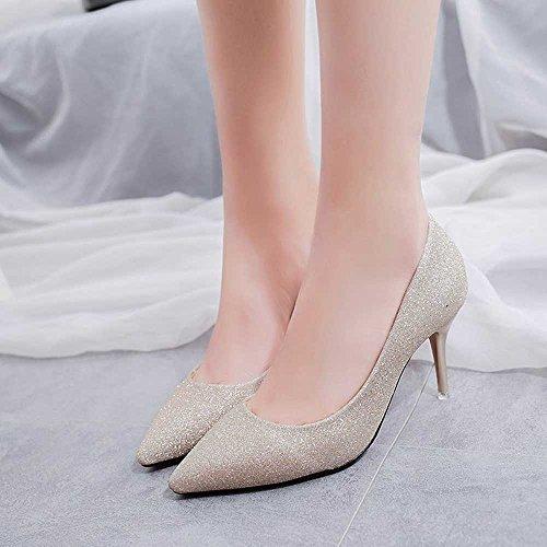 Women Es High Heels PU Eleganten Mode Spitze Stiletto Heel Braut Hochzeit Schuhe Pumps Goldene Ferse Höhe 8Cm