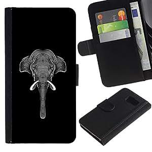 All Phone Most Case / Oferta Especial Cáscara Funda de cuero Monedero Cubierta de proteccion Caso / Wallet Case for Samsung Galaxy S6 // Art Elephant Black White Ink