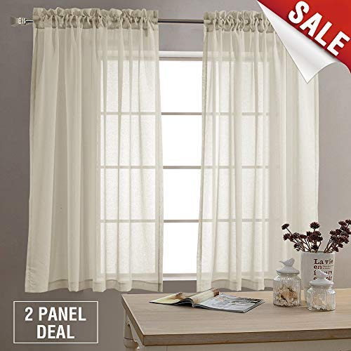 Sheer Curtains for Living Room 63 inches Long Bedroom Sheer Curtain Panels Rod Pocket Voile Window Curtain Set 2 Panels Nature