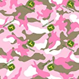 John Deere Camo Logo Toss on Fabric by The Yard, 43/44-Inch Wide, Pink