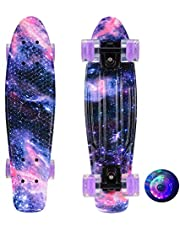 Skateboards Complete Starry Sky Skateboard with LED Wheel Smooth Durable Safe for Kids Boys Girls Youths Teens Beginners Pros Outdoor Sport (56 * 14cm)