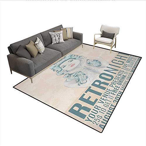 Carpet,Retro Night Theme Poster Design Attractive Woman with