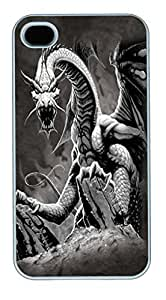IPhone 4S Cases Black Dragon Polycarbonate Hard Case Back Cover for iPhone 4/4S White