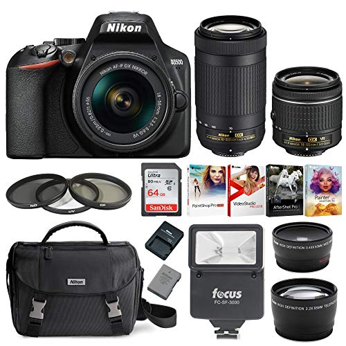 Nikon D3500 DSLR Camera with AF-P 18-55mm and 70-300mm Zoom Lenses + 64GB Card + Accessory Bundle (Best Entry Level Dslr For Beginners)