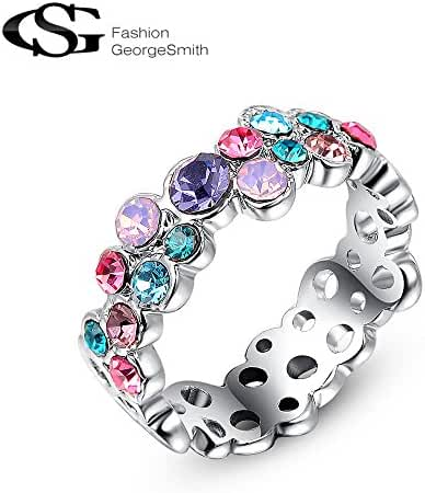 G&S Colorful Crystals Fahion 18K Rose Gold Platinum Plated Party Rings for Women Love Girlfriend