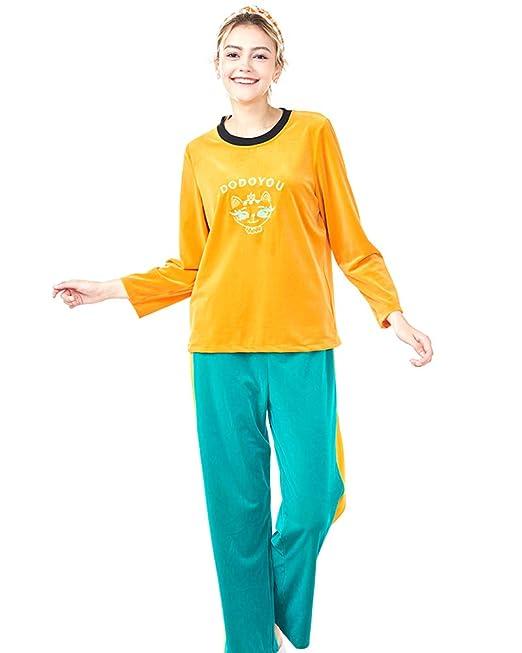 Mujer Otoño e Invierno Set de 2 Piezas Pijamas para Mujer Ropa de Dormir Manga Larga: Amazon.es: Ropa y accesorios