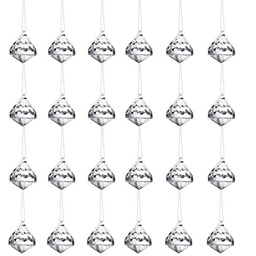 HOHIYA Artificial Christmas Tree Ornament Acrylic Crystal Ball Diamond Drops Ornaments Home Party Craft DIY Birthday Event Hanging Decorations Set(Clear,Pack of - Tree Ornaments Christmas Crystal