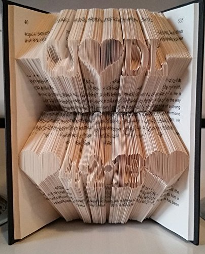 Initials and date custom book sculpture.