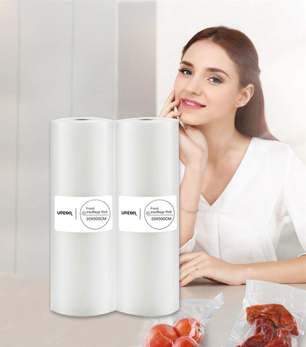 UPEOR 2 Rolls 20x500cm Freezer Vacuum Sealer Bags Rolls Food Storage Saver Commercial Grade Food Sealer Bags for FoodSaver | Make Custom-Sized BPA-Free Vacuum Sealer Bags