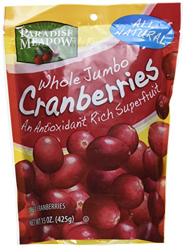 Paradise Meadow Whole Premium Dried Cranberries, 15 Ounce Whole Cranberries