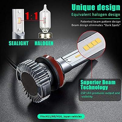 SEALIGHT H11/H8/H16 LED Fog Light Bulbs, Cool 6000K Xenon White, 4000 Lumen, Non-polarity: Automotive