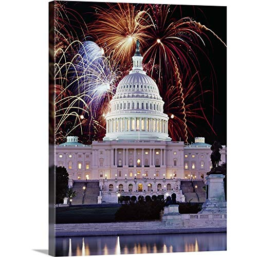 GREATBIGCANVAS Gallery-Wrapped Canvas Entitled Firework Display Over a Government Building at Night, Capitol Building, Washington DC by 12