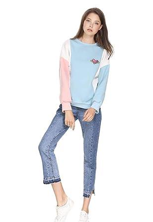 VIK Women Hoodies Kawaii Love Heart Mujer Loose Color Block Tops Sweatshirts at Amazon Womens Clothing store: