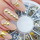 Tenworld 300 pcs 3D Design Nail Art Different Metallic Studs Gold & Silver Stud Wheel Manicure