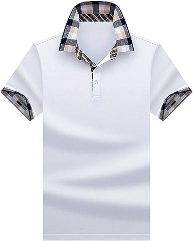 Polo Hombre Manga Corta Camiseta Casual 100% Puro Algodón(Blanco): Amazon.es: Ropa y accesorios