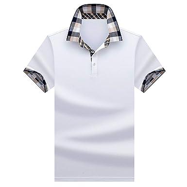 Polo Hombre Manga Corta Camiseta Casual 100% Puro Algodón(Blanco ...