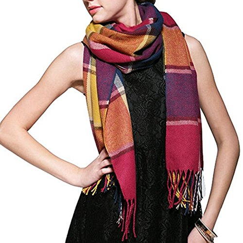 Lanzom Women's Fashion Big Grid Winter Warm Long Shawl Lattice Large Scarf (Wine Red)