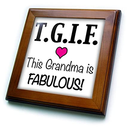 Pink Framed Tile 3dRose ft/_202947/_1 TGIF This Grandma is Fabulous 8 by 8