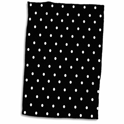 - 3D Rose Black and White Polka Pattern-Small Dots-Stylish Classic-Classy Elegant Retro Dotty Spotty Hand/Sports Towel, 15 x 22, Multicolor