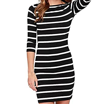 Onewell Women Striped Bodycon Dress Work Business Dresses Party