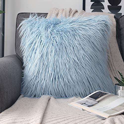 Phantoscope Decorative New Luxury Series Merino Style Light Blue Faux Fur Throw Pillow Case Cushion Cover 18 x 18 inches 45cm x 45cm