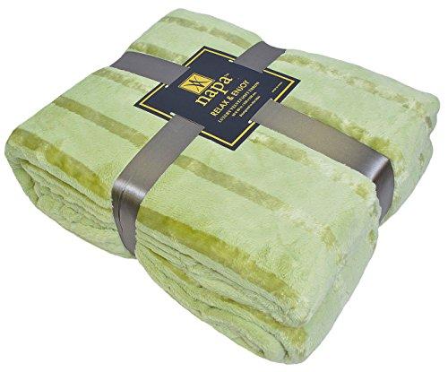 """Napa Plush Cashmere Throw Blanket Green, King 108""""x90"""", Stri"""