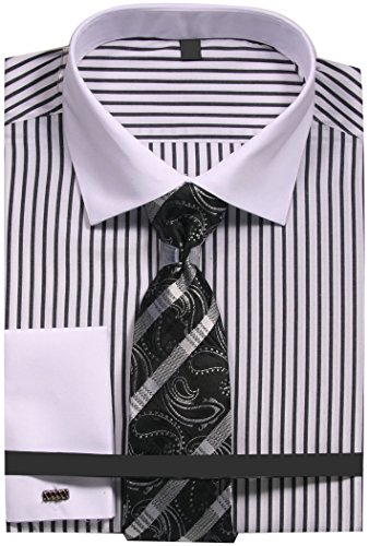 - Sunrise Outlet Men's Slim Fit Stripe Dress Shirt with French Cuffs and Tie - Black 14.5 32-33