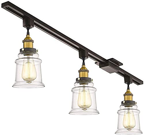KIVEN 3 Pack H-Track Lighting Kitchen Pendant Light – Clear Glass Shade Industrial Hanging Lamp, UL Listed-Cord Lengths 12 inch.