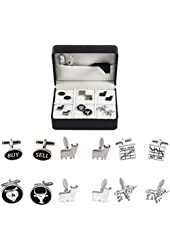 MRCUFF Wall Street Stockbroker Trader Bull Bear Buy Sell 6 Pairs Cufflinks with a Presentation Gift Box