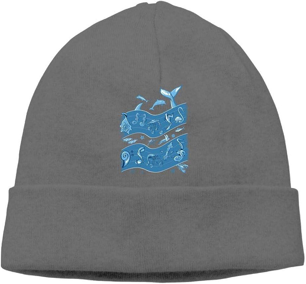 Poii Qon Beanie Hats Oceans Symphony Knit Caps for Woman Man