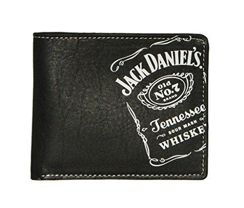 Jack Daniel's Men's Whiskey Collection Black Leather Screenprint Billfold (Bi Fold Screen Print Wallet)