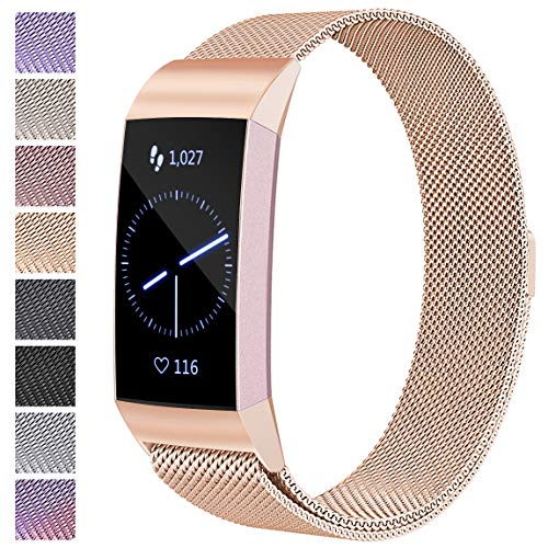 Maledan Metal Bands Compatible with Fitbit Charge 3 & Charge 3 SE, Stainless Steel Mesh Milanese Loop Magnetic Band Replacement Accessories Bracelet Strap with Unique Magnet Lock, Royal Gold, Small