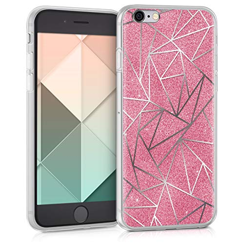 kwmobile Case for Apple iPhone 6 / 6S - TPU Silicone Crystal Clear Back Case Protective Cover IMD Design - Silver/Dark Pink
