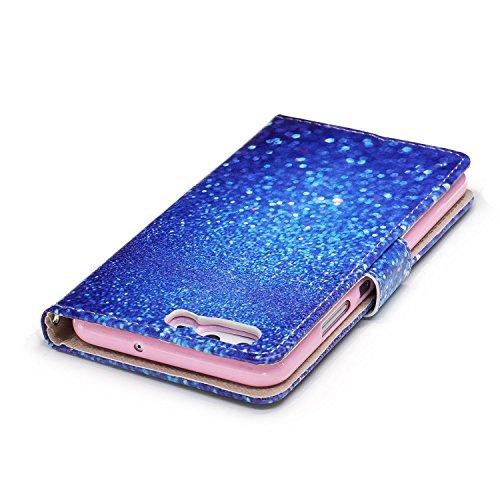 Funda Huawei P10,SainCat Funda de cuero sintético tipo billetera con correa de cordón de Suave PU Carcasa Con Tapa y Cartera,Ranuras para Tarjetas y Billetera Funda de Flip Ranuras Tarjeta Slots Funci Arena azul
